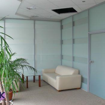 Офисная алюминиевая перегородка с матовым стеклом
